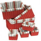 Tiroir osier teinté tissu rayé 4 tailles disponibles