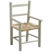 La Vannerie d'Aujourd'hui - Fauteuil pour enfant en bois laqué gris, assise en paille
