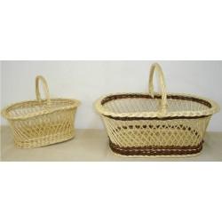 Panier croisillon ovale en osier blanc ou 2 tons, 3 modèles