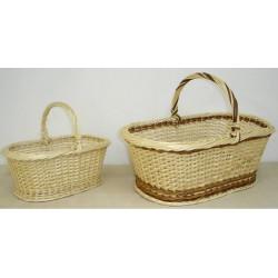 Panier traditionnel éclisse osier blanc ou 2 tons 3 modèles
