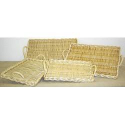 Plateau à fromages rectangulaire en osier blanc ou 2 tons, 4 tailles