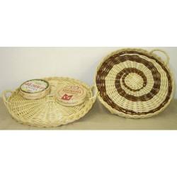 Plateau à fromages rond en osier blanc ou 2 tons, 5 tailles