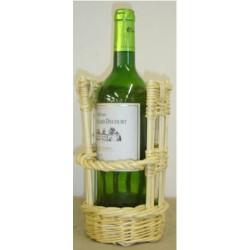 Panier porte bouteille en osier blanc ou 2 tons