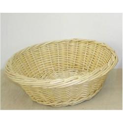 Corbeille à pain ronde en osier blanc ou 2 tons, motif plein