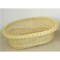 Corbeille à pain ovale en éclisse d'osier blanc ou 2 tons