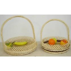 Coupe à fruits ronde avec crans en osier blanc ou 2 tons, 2 modèles