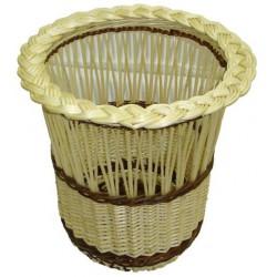 Poubelle de bureau demi-ajourée en osier blanc ou 2 tons, bord natté
