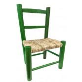 Chaise enfant paille bois vert