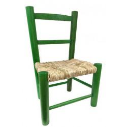 chaise enfant paille bois vert la vannerie d 39 aujourd 39 hui. Black Bedroom Furniture Sets. Home Design Ideas