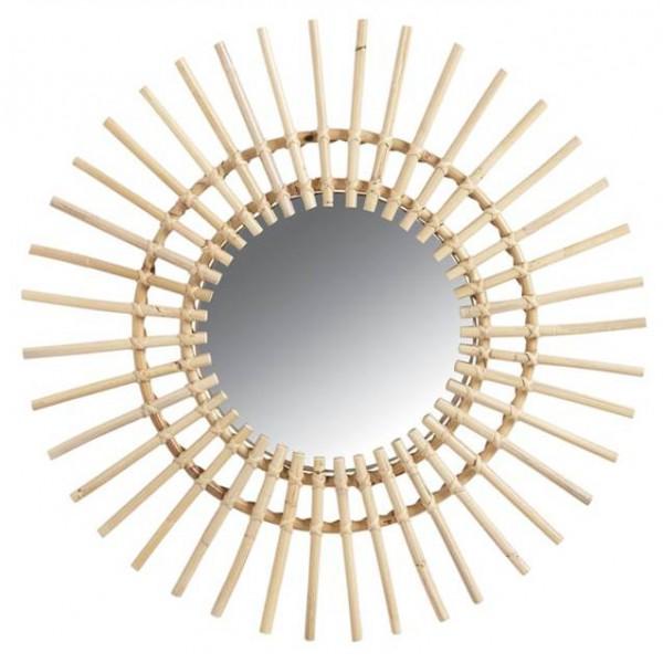 Miroir en rotin soleil la vannerie d 39 aujourd 39 hui for Miroir en rotin