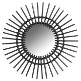 La Vannerie d'Aujourd'hui - Miroir en rotin design soleil teinté noir