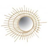 Miroir en rotin spirale
