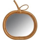 Miroir en rotin pomme