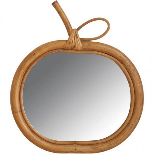 La vannerie d 39 aujourd 39 hui miroir design pomme en rotin naturel - Miroir en rotin ...