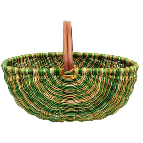 Panier en moelle de rotin vert et jaune la vannerie d for Le rotin d aujourd hui