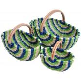 Panier en moelle de rotin vert/blanc/bleu