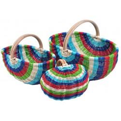 Panier en moelle de rotin multicolore