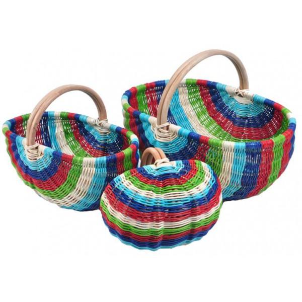 Panier en moelle de rotin multicolore la vannerie d for Le rotin d aujourd hui