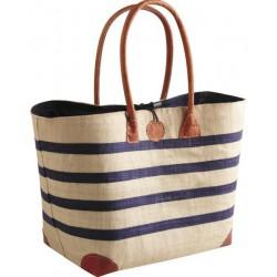 La Vannerie d'Aujourd'hui - Cabas motif marinière bleue en rabane